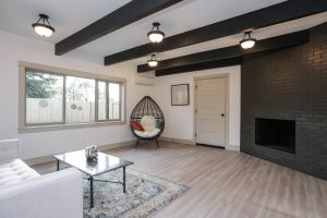 Spacious Family Room, Wood Fireplace